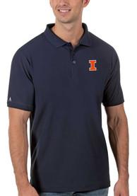 Illinois Fighting Illini Antigua Legacy Pique Polo Shirt - Navy Blue