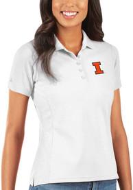 Illinois Fighting Illini Womens Antigua Legacy Pique Polo Shirt - White