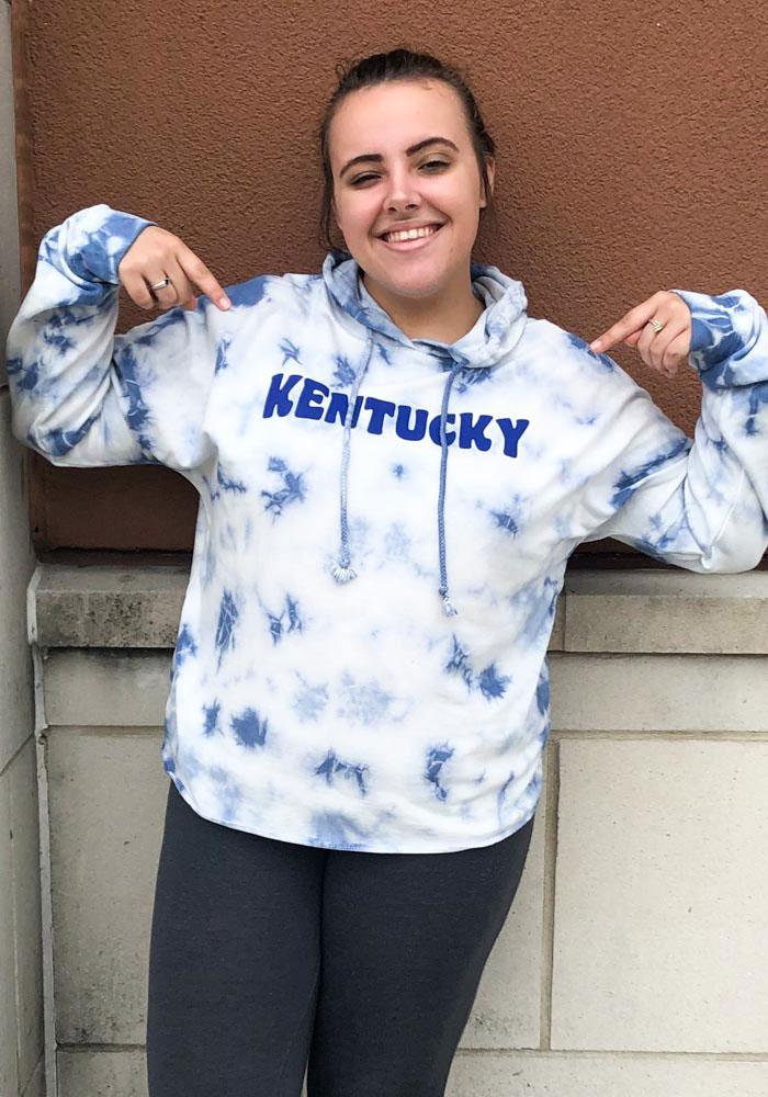 Kentucky Womens Blue Tie Dye Long Sleeve Light Weight Hood - Image 2