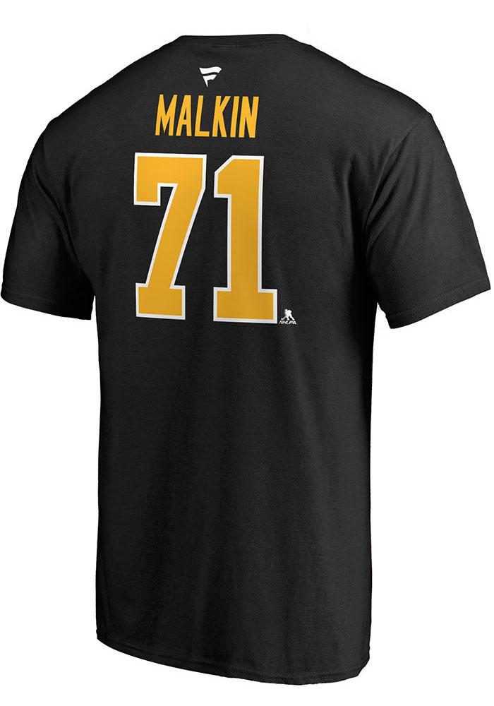 Evgeni Malkin Pittsburgh Penguins Mens Black Name & Number Short Sleeve Player T Shirt - Image 2