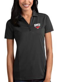 SMU Mustangs Womens Antigua Tribute Polo Shirt - Grey