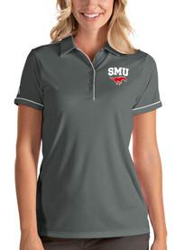 SMU Mustangs Womens Antigua Salute Polo Shirt - Grey