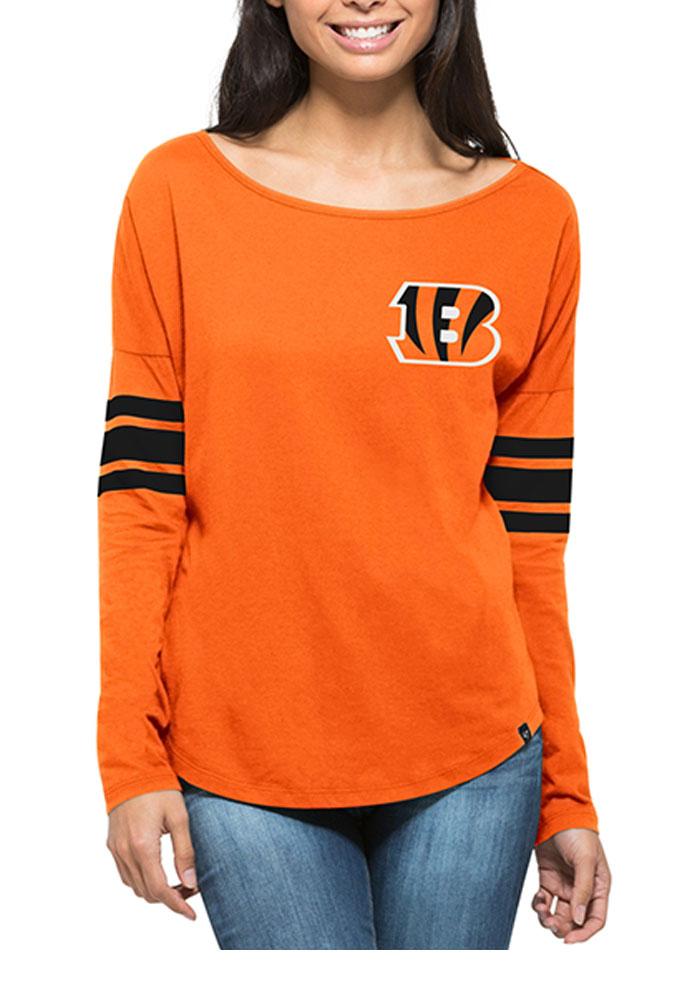 '47 Cincinnati Bengals Womens Orange Courtside LS Tee - Image 1