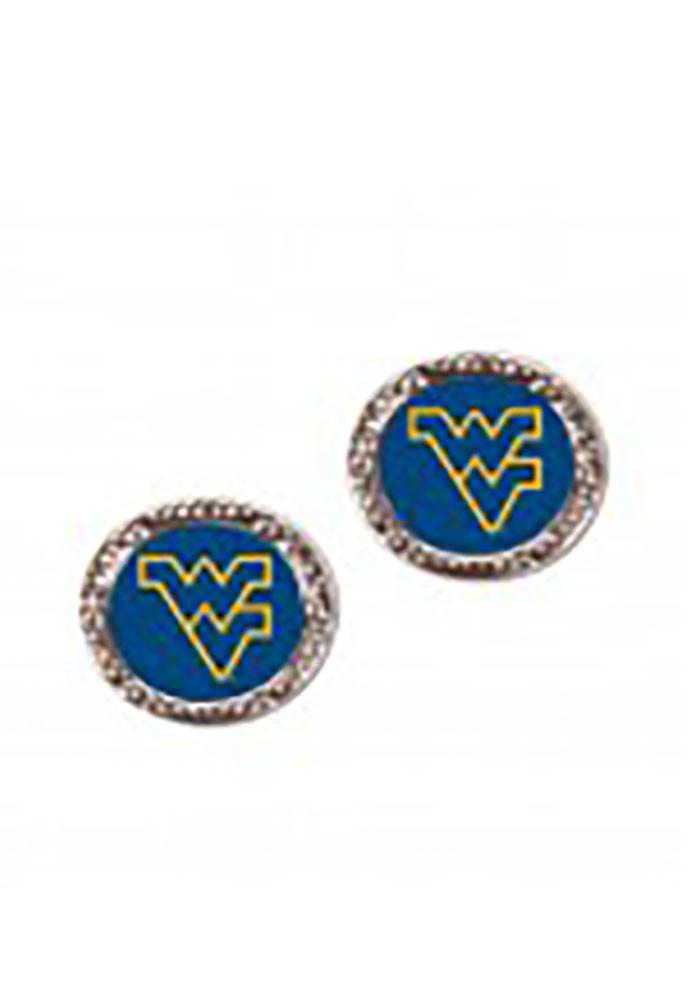 West Virginia Mountaineers Hammered Post Womens Earrings - Image 1